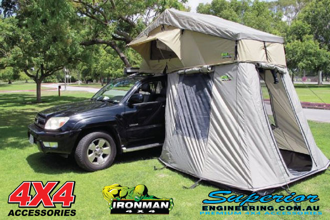 The roof top tent entrance & ironman-4x4-luxury-rooftop-tent-entrance | 4x4 Accessories Online