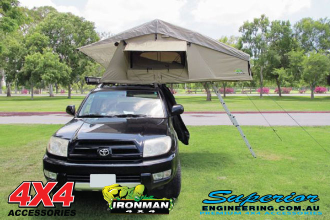 Front view of the rooftop tent setup