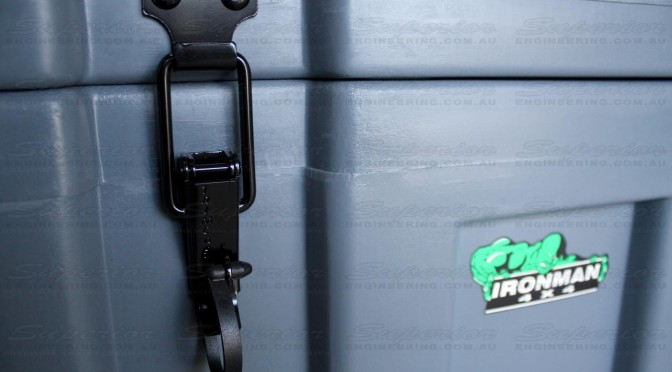 Close up view of the Ironman 4x4 Space Case lockable latch
