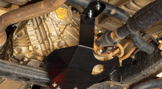 Left Underside View of the Superior Engineering Transfer Case Guard to suit the Toyota Landcruiser 79 Series