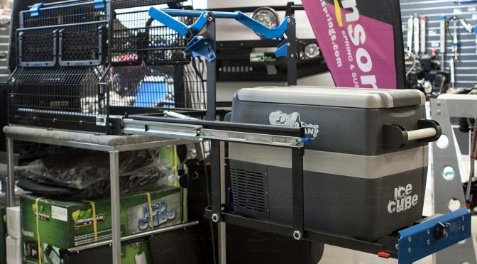 In-store display of the MSA 4x4 Fridge Drop Slide in the fully opened and dropped position ready for use