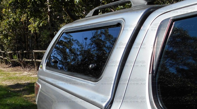 Right side view of the Ironman 4x4 Thermoplas Canopy fitted to a current model Mazda BT-50