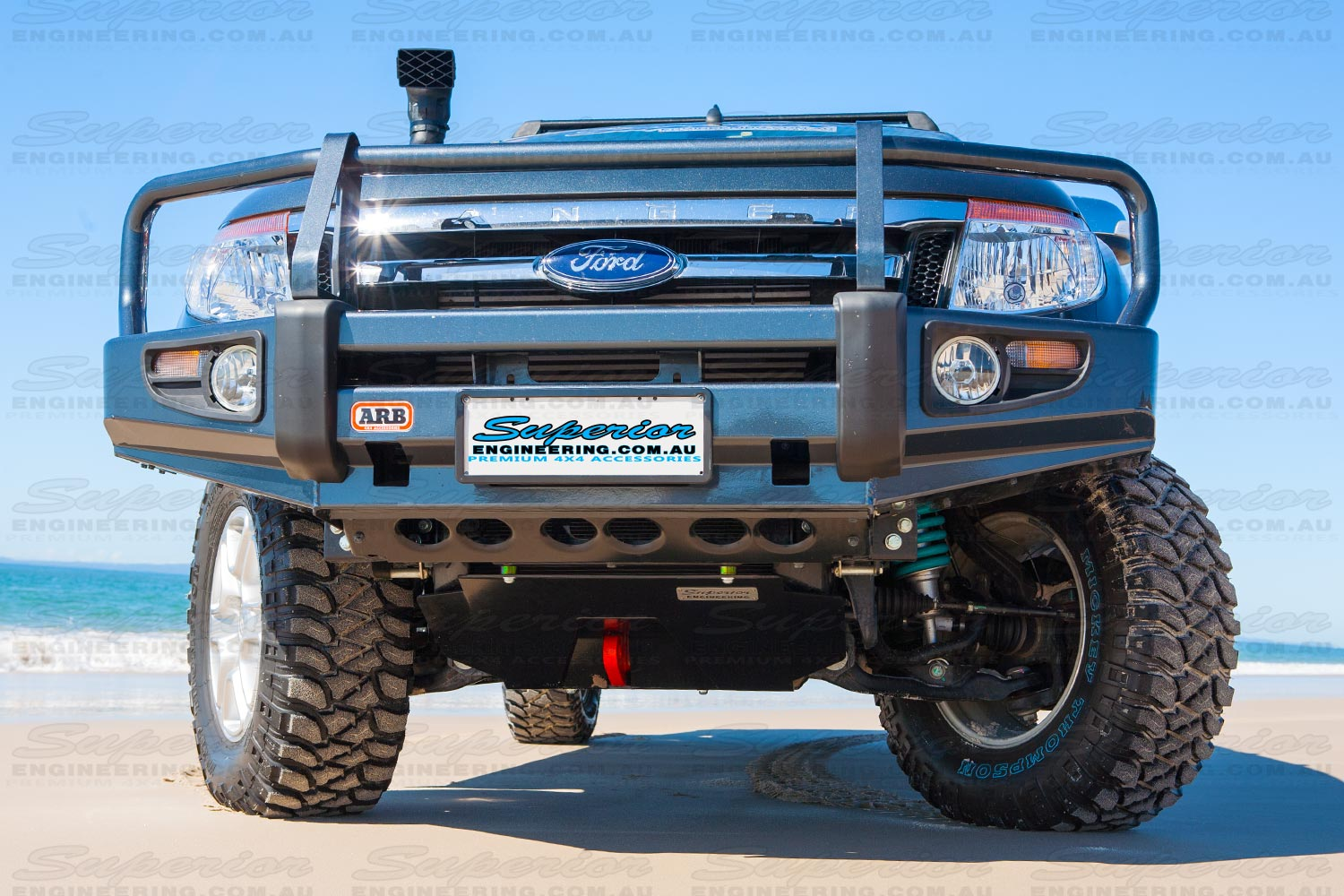 Front view of the Ford Ranger Bash Plate and Recovery Point