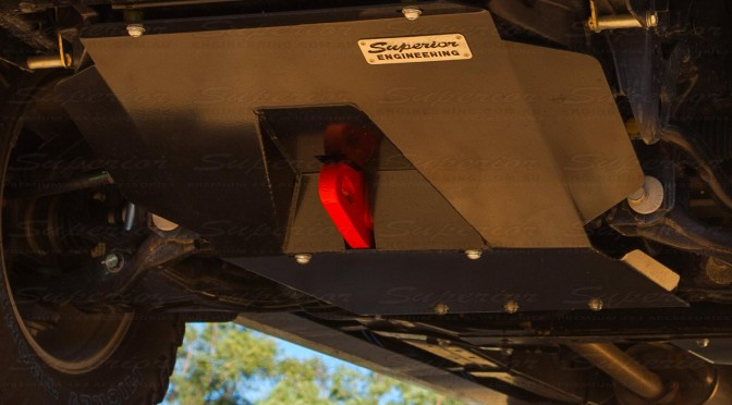 The Superior Engineering Bash Plate and Recovery Point fully mounted to the underside of the Ford Ranger