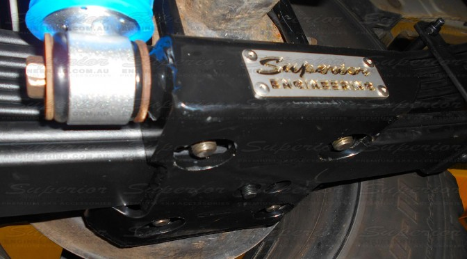 Under side view a Superior U-Bolt Plate fitted to a 79 series landcruiser