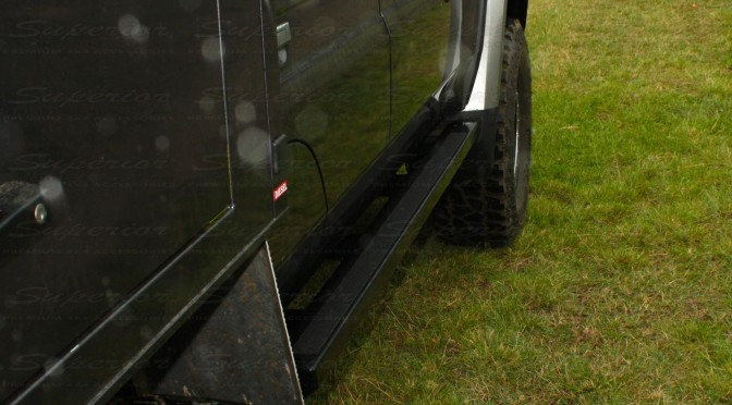 Rear closeup view of the new Superior Stealth Rock Sliders on a 79 Series Toyota Landcruiser