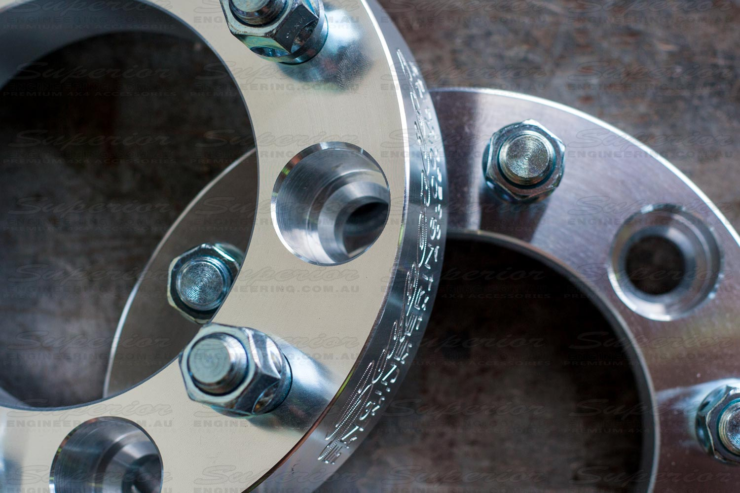 Top closeup view of the Superior 5 stud 2 inch wheel spacers