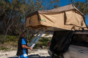 Setting up the Ironman 4x4 rooftop tent on a 200 Series Landcruiser