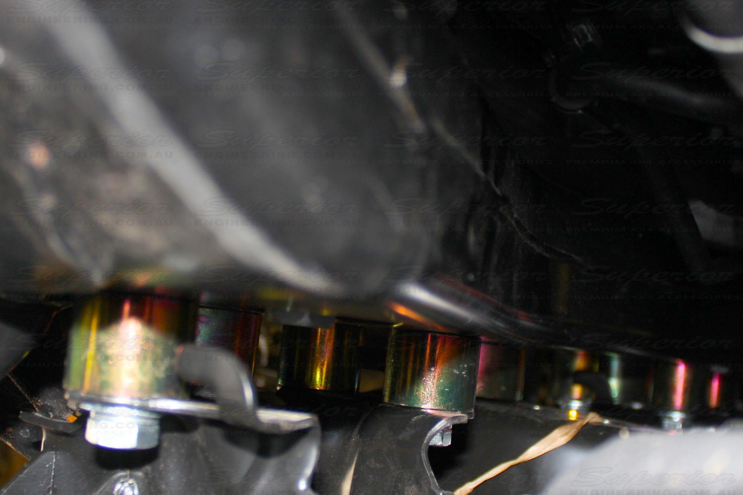 Closeup view of the Superior Diff Drop spacers fitted in the 200 Series