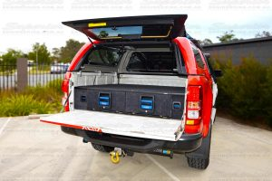 Rear view of a current model Holden Colorado with a pair of MSA 4x4 Drawer Systems fully  installed, locked and secure