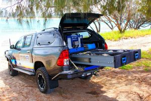 Toyota Hilux fitted with a fully loaded MSA 4x4 Drawer System