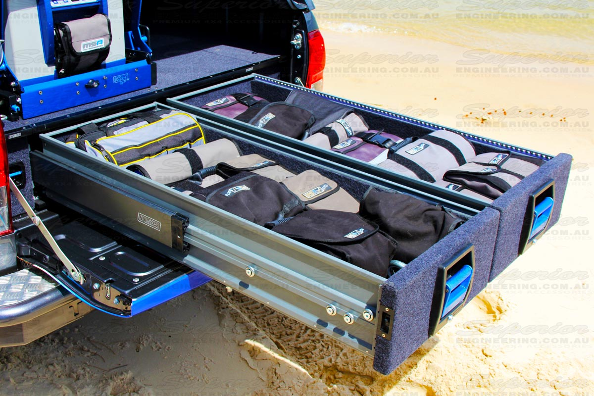 Fully opened double drawer system on the Toyota Hilux showcasing the ultimate secure storage device