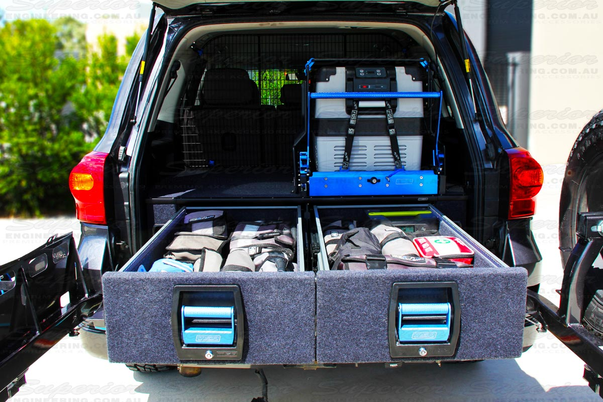 These Toyota Landcruiser 200 Series Drawers are fully compatible with the full range of MSA Drop Slides and Fridge barriers