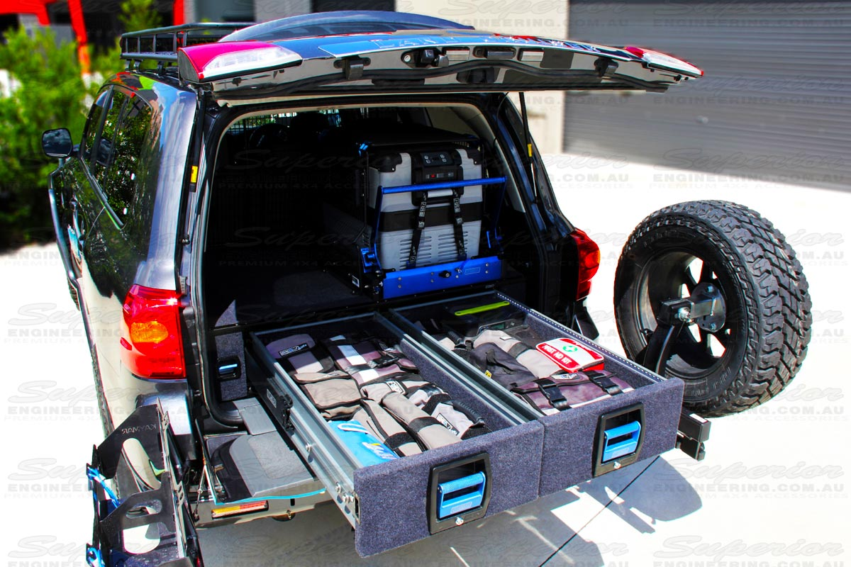 Heavy Duty load rated dual drawers to suit the Toyota Landcruiser 200 Series