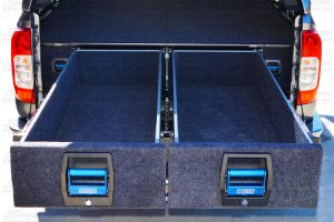 Closeup view of the MSA 4x4 dual drawers fully extended displaying the massive amounts of storage area