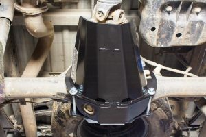 Under vehicle view of the Superior Stealth Pinion Guard bolted to the PX Ford Rangers differential