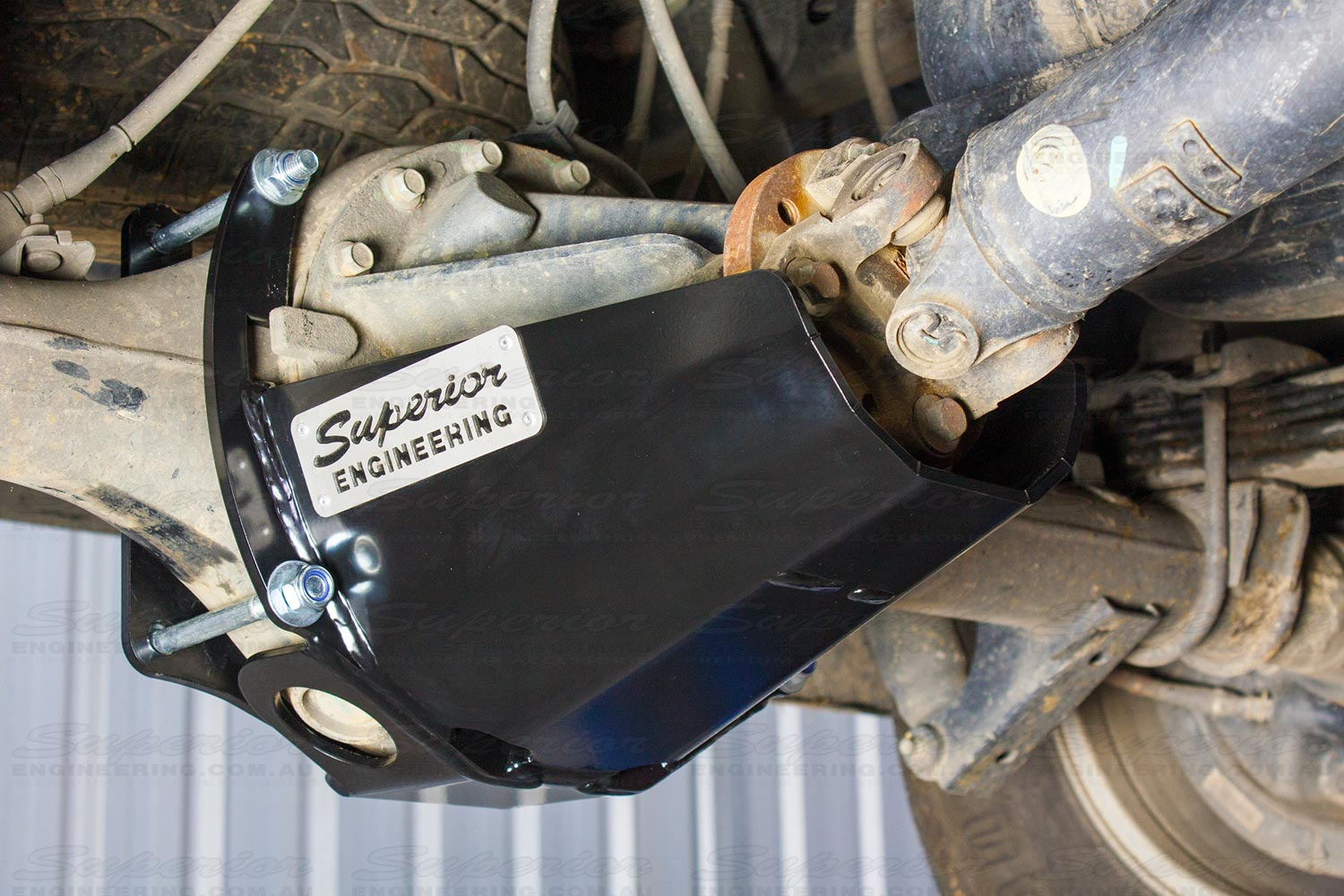 Closeup side view of the Superior Stealth Pinion Guard bolted to the PX Ford Rangers providing complete coverage to the differential