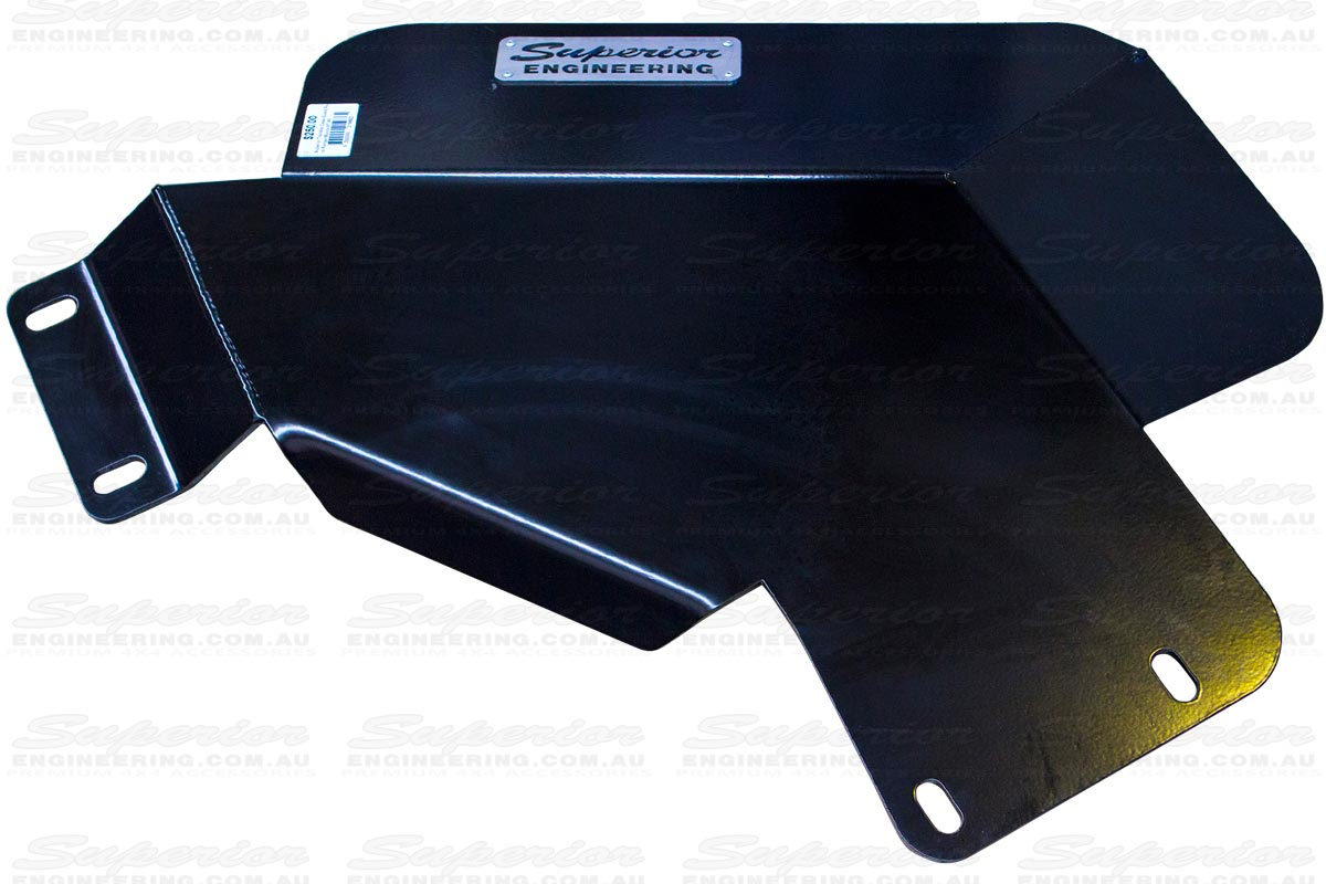 A closeup view of a Superior Engineering Heavy Duty Transfer Case Guard to suit the Ford Ranger & Mazda BT-50