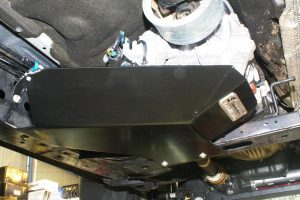 A Heavy Duty Transfer Case Guard fitted to the chassis and crossmember on a current model Ford Ranger 4WD
