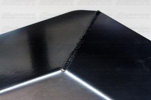 Closeup view of the guard whick is cnc pressed and finished off in a hard wearing, semi-gloss, black powder coat for maximum durability and rust prevention