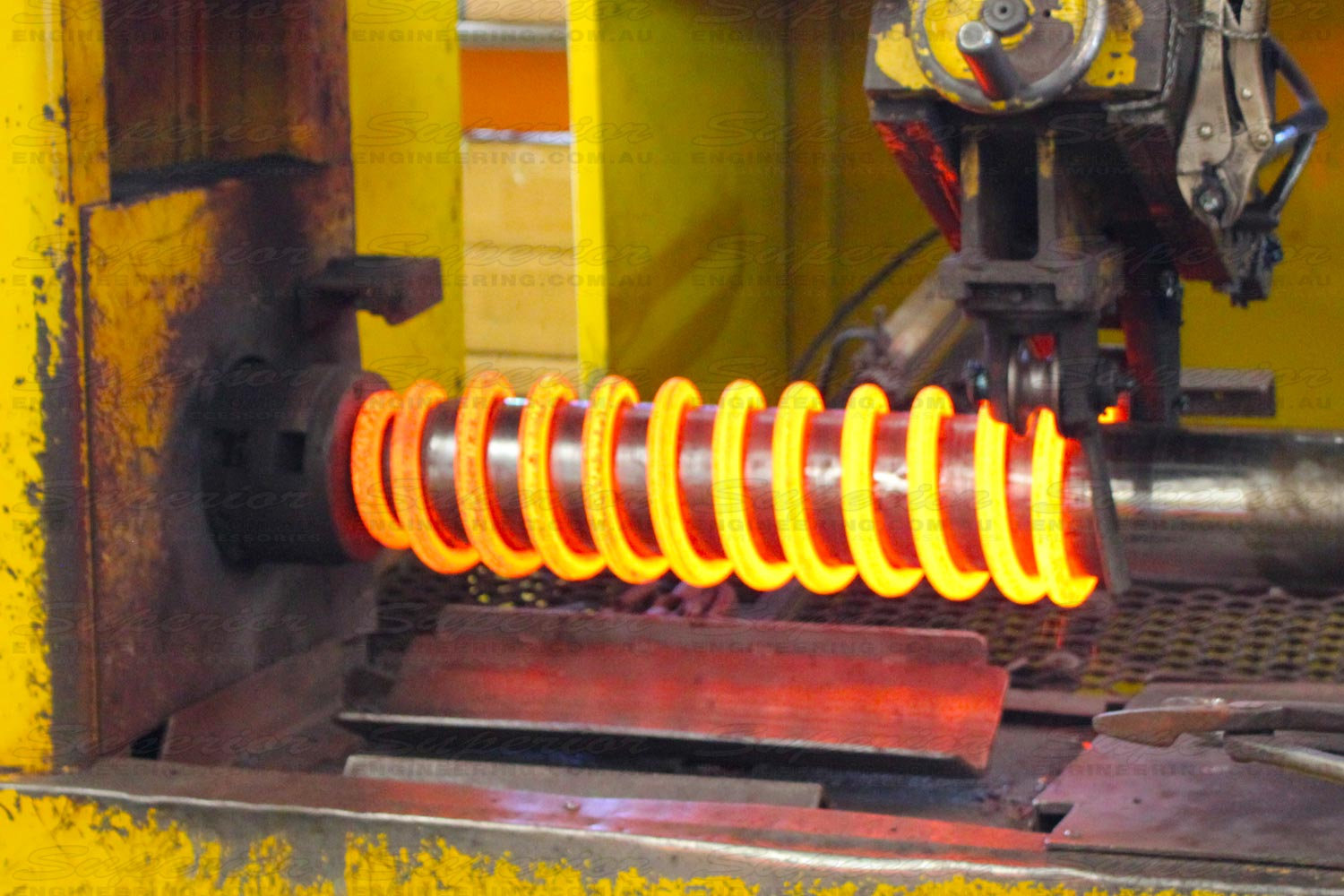 The final stage of a Superior coil spring being wound and formed on our precision mandrels