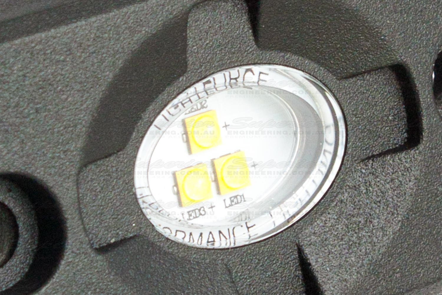 Closeup view of the Lightforce ROK9 LED lights