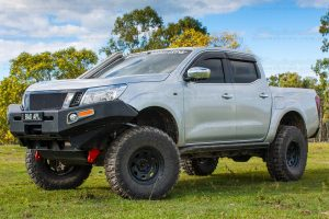 A pair of Superior heavy duty rated towing points fitted to the front end of a NP300 Nissan Navara at the main Superior Engineering Burpengary warehouse
